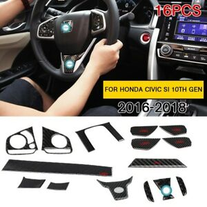 16pcs Carbon Fiber Style Car Interior Trim Fits Honda Civic Si 10th Gen 2016 18