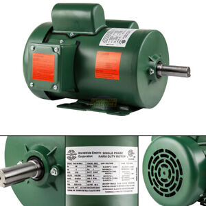 2 Hp Single Phase Farm Duty Electric Motor 56hz Frame 1800 Rpm Tefc Enclosure