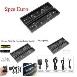 2x Car License Plate Frame Number Hide Turn Off Shutter Euro Type W Remote