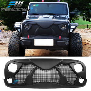For 07 17 Jeep Wrangler Jk Unlimited Rubicon Front Hood Grille Guard Matte Abs