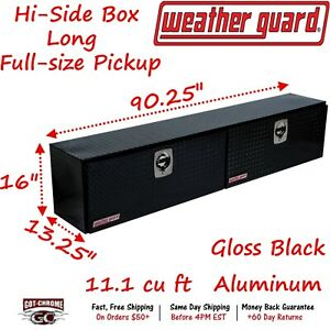 390 5 02 Weather Guard Black Aluminum Hi Side Box Top Mount 90 Truck Toolbox