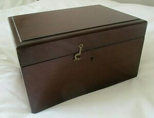Lovely Large Antique Victorian 1890s Mahogany Wooden Empty Box With Lock
