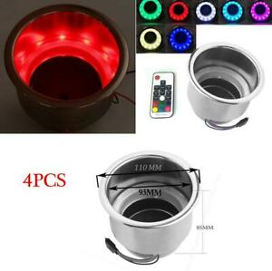 4x Stainless Steel Cup Drink Holder With 14led Rgb Lights remote Car Marine Boat
