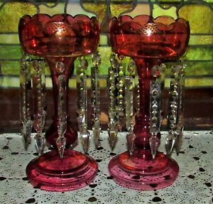 Pair Of Antique Victorian Tall Cranberry Mantle Lustres Lusters Late 1800 S