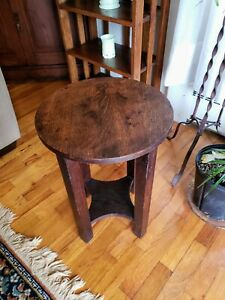 Antique Mission Arts Crafts Oak Plant Stand Or End Table