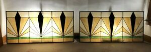 22 Feet Long Set Of Three Art Deco Antique Stained Glass Windows C1920s Large