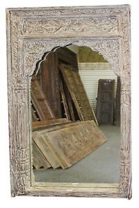 Rustic Tall Hall Mirror Arch Hand Carved Wall Hanging Farmhouse Home Decor