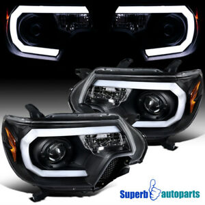 For 2012 2015 Toyota Tacoma Black Projector Headlights Led Drl Bar Pair