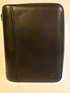 Franklin Covey Classic Black Leather Zip Around Planner Organizer Made Usa Vtg