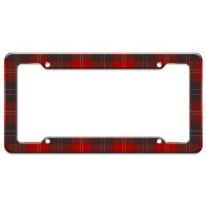 Plaid Red Gray Grey Pattern License Plate Tag Frame