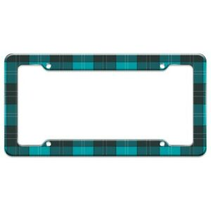 Plaid Turquoise Teal Gray Grey Pattern License Plate Tag Frame