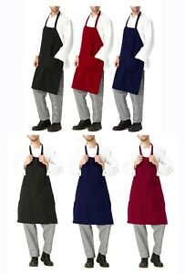 Restaurant Grilling Bbq Commercial Home Kitchen Chef Cooking Navy Red Bib Apron