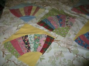 20 Large Pretty Feedsack Fan Blocks Enough To Make A Full Quilt