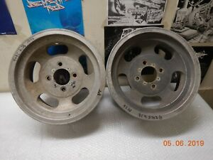 Pair Vintage 14x6 4 lug Slot Mag Wheels Chevy Ford Datsun Maverick Nova Falcon