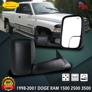 Left Right Power Heated Tow Mirrors For 1998 01 Dodge Ram 1500 2500 3500 Flipup