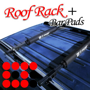 Fit Jeep Roof Top Rack Square 48 Cross Bars Pad Cargo Carrier Combo