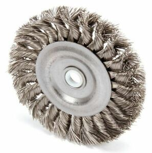 4 Twisted Wire Wheel Brush Arbor Hole Mounting 0 014 Wire Dia 7 8 Bristle