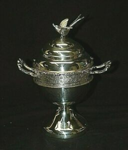 Antique 1920s Rogers Silver Plate Spooner Flying Bird Finial Floral Silverplate