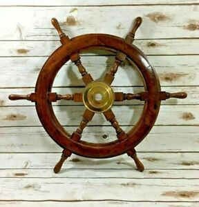 Old Look 18 Pirate Wooden Ship Wheel Vintage Boat Nautical Decor Brass Center