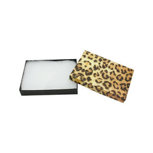 100pc 5 3 8 X 3 7 8 Gift Boxes Jewelry Leopard Print Cotton Filled Batting