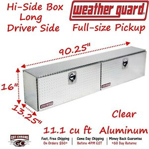 390 0 02 Weather Guard Aluminum Hi Side Box Top Mount 90 Truck Toolbox