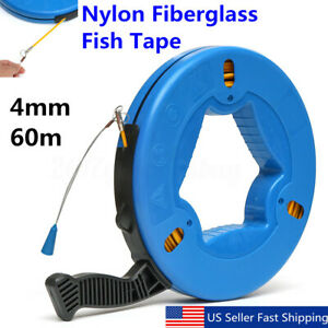 60m Fish Tape Fiberglass Wire Cable Electric Running Rod Duct Rodder Puller Blue