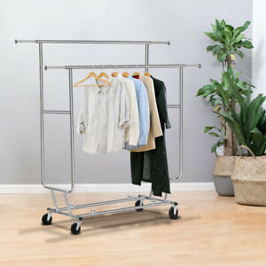 Double Commercial Collapsible Clothing Rolling Garment Rack