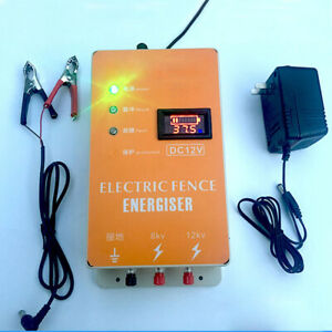 Solar Electric Fence Charger Energiser Ranch Animal Dog Sheep Horse Poultry 12v