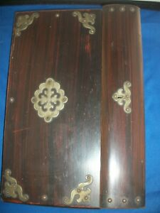 Antique Fine Writing Lap Travel Desk Letter Box Wood Ink Well