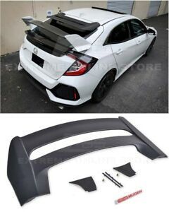 Mugen Style Rear Roof Wing Spoiler Red Emblem For 16 up Honda Civic Hatchback