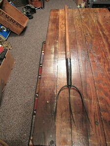 Vtg 3 Tine Hay Fork Primitive Farm Tool Pitch Fork Country Barn Farmhouse Decor