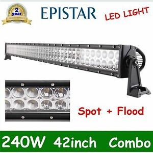 Curved 42inch 240w Led Work Light Bar Spot Flood Tractor Off Road Boat Pk 40 44