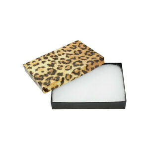 Gift Boxes Jewelry Leopard Print Cotton Filled Batting Box 100pc 5 3 8 X 3 7 8