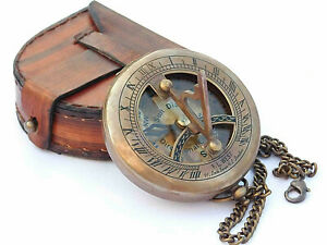 Compass Push Open Brass Sundial Compass Steampunk With Leather Case And Chain