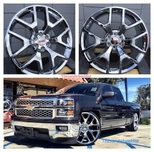 26 Inch Chevy Silverado Tahoe Chrome Wheels With Tires Gmc Yukon Sierra Rims