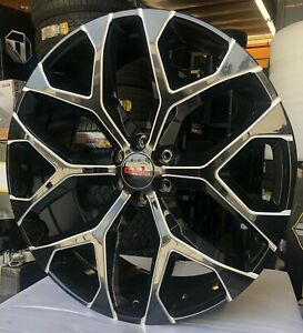 26 Gmc Snowflake Wheels Black Milled Tires Denali Chevy Tahoe Yukon Avalanche