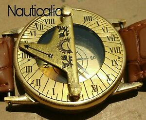 Brass Nautical Sundial Hand Wrist Watch Compass Marine 2 Vintage Navigation
