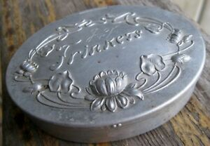 Antique Art Nouveau Trinkets Box Metal Aluminum Tin Vintage Water Lily Monogram