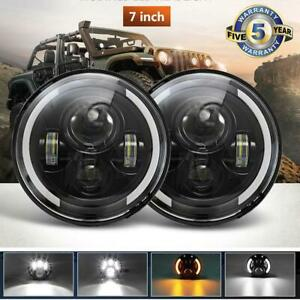 For Jeep Wrangler 7 Inch Round Led Headlight Hi low Beam Halo Angle Eye Drl Pair