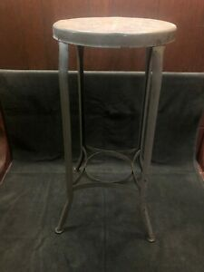 Vintage Antique Toledo Uhl Draftsman Metal Industrial Stand Stool 30 Tall