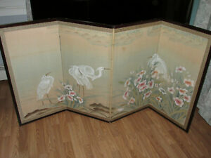 Vintage Oriental Hand Painted Four Panel Folding Screen Japanese Storks 70 X35