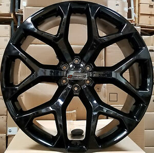 20 Replica Snowflake Wheels Black Rims Fit Yukon Sierra Chevy Tahoe Silverado