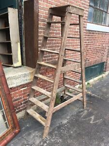 Vintage Wood Double Platform Ladder 7 Antique Library Step Factory Mill Display