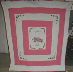 Antique Floral Basket Pieced And Embroidered Quilt Pink And White 1854