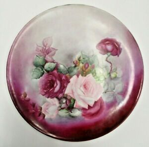 Antique Victorian T V Limoges France Tray Charger Painted Roses Signed Large