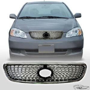 For 2003 2008 Toyota Corolla Front Upper Hood Grill Diamond Style Chrome Grille