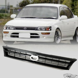 For 1993 1997 Toyota Corolla Front Upper Hood Grill Black Grille With Crown Logo