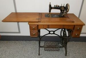 Improved Faultless Goodrich Singer Treadle Sewing Machine Cabinet Great Base