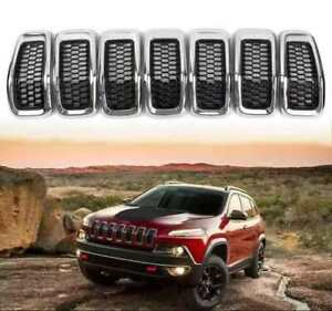 7pcs Grill Inserts For Jeep Cherokee 2014 2018 Front Grille Honeycomb Mesh Cover