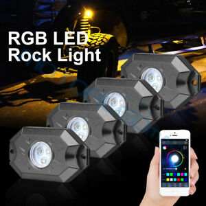 For Offroad Atv Utv Can am Underbody Rock Lights Led Rgb Pods Bluetooth Music X4